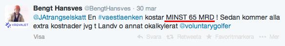 Bengt Hansves (13:e namn Vägvalet, Västra Götaland), Twitter 30/3