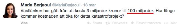Maria Berjaoui (6:e namn Vägvalets vallista för Göteborg), Twitter 13/3